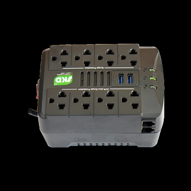 Picture of SKD Spina-1000 1000VA/500W Stabilizer เครื่องปรับแรงดันไฟฟ้า (AVR+USB เต้าเสียบด้านบน) รับประกัน 1ปี Automatic Voltage Regulator ( ไม่สำรองไฟ )